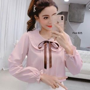 Mauve blush pink ruffle trim collared blouse